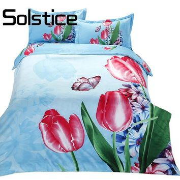 Solstice Home Textile Beautiful 3D Floral 4Pcs Bedding Sets New Soft Polyester Fabric Duvet Cover Sheet Pillow Cases Bedclothes