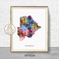Botswana Art, Watercolor Map, Botswana Map Art, Office Wall Decor, Office Wall Art, Living Room Art, Map Decor, Map Wall Art Print Zone