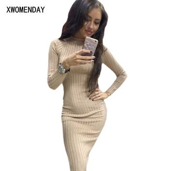 Sexy Bandage Autumn Women Bodycon Sheath Dress Sexy Red Knitted Cotton Long Sleeve 2018 Spring Dress Casual Black Party Dresses