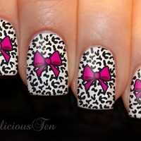 NAILICIOUS TEN Pink Bow with Animal Print Background Print Nail Wraps Art Water Transfer Decal 12pcs - ST8061