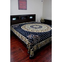 Mandala Om Print Tapestry Wall Hanging Tablecloth Spread Twin Full Queen King