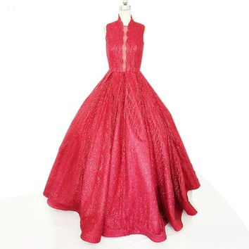 Strapless Ball Gown Wedding Dresses Robe Tulle red Wedding Dress
