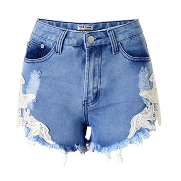 Fashion Embroidery Hole jeans Shorts woman Shorts ripped jeans for women vaqueros mujer jean denim Short pants pantalon  femme