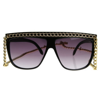 "Oversize Celebrity Inspired Designer Fashion 12"" Chain Sunglasses 8145"