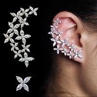 CZ Floral Ear Cuff and Stud