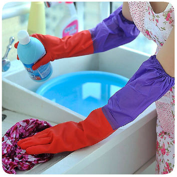 Sleeve beam solid household dishwashing gloves latex cleaning gloves with warm cashmere lengthened and thickened
