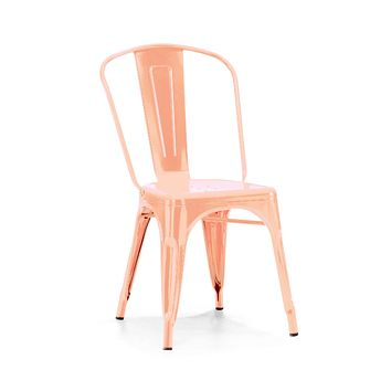 Dreux Metallic Light Rose Gold Steel Stackable Side Chair (Set of 4)