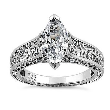 A 2CT Marquise Cut Russian Lab Diamond Scroll Engagement Ring