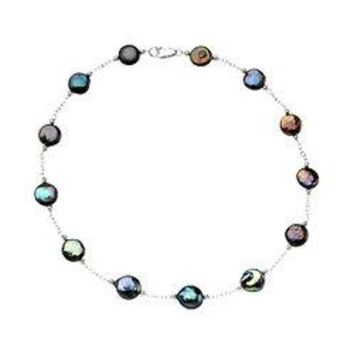 Sterling Silver and Freshwater Cultured Black Coin Pearl Station Necklace - 18 Inch/ 12-13 MM