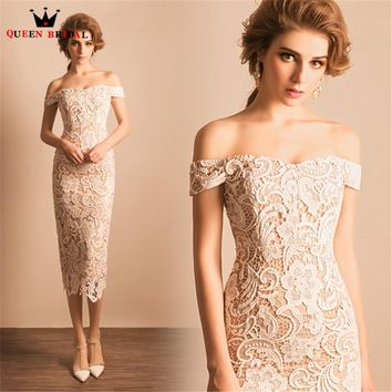 Mermaid Tea Length Lace Ivory Short Evening Dresses Evening Gowns 2018 New Fashion Formal Dress Party Gown Robe De Soiree JW73M