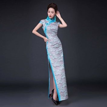 Vintage Cheongsam Qipao Long Traditional Chinese Oriental Style Maxi Formal Dress