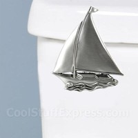 Pewter Sailboat Toilet Handle