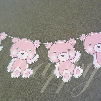 Bear bunting paper flag 12 pcs.animal bunting paper garland bunting party banners -Baby shower banner -party decorations