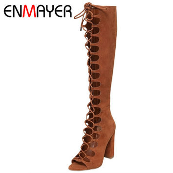 ENMAYER Fashion Summer Boots Knee High Boots Women Brown Color Sexy Lace-up Peep Toe Boots Genuine Leather Shoes for Women Pumps