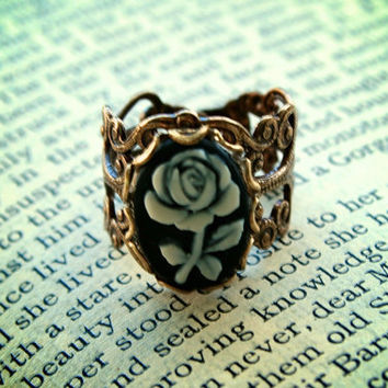 Vintage Black and White Rose Cameo Adjustable Brass Victorian Style Ring