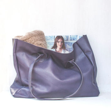 Purple Leather Shopper / Leather Tote / Shoulder Bag / Purple Leather Bag / Leather Bag / Women's Handbag / Raw Edged Shopper / Purple Bag