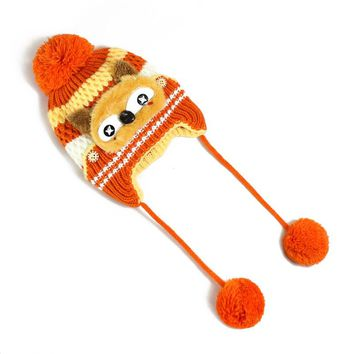 Warm Cute Fox Pattern Children Knitted Beanies Hats Kids Pompom Ball Lovely Caps Boys Girls Age 0 To 2 Years Old Type TN01