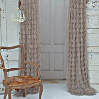 Couture Dreams Chichi Solid Petal Window Curtain, Sable
