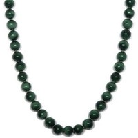 """Sterling Silver 8mm Malachite Bead Necklace, 36"""""""