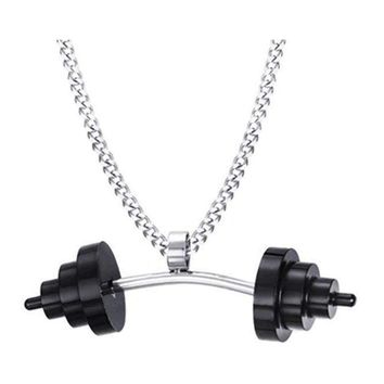 Stainless Steel Barbell Necklace (Black Plates) Necklace