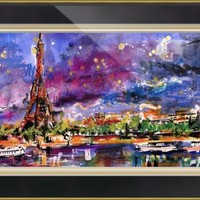 """A Night In Paris Panoramic View of Eiffel Tower"" by Ginette Callaway"
