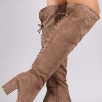 Wild Diva Lounge Suede Back Lace Up Chunky Heeled Boots