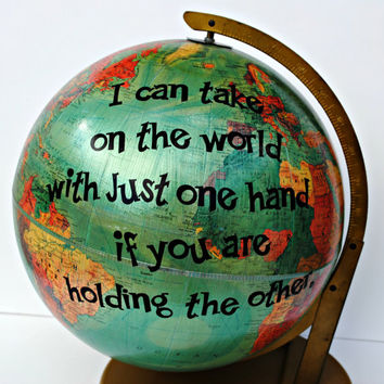 Vintage Globe Art - UpCycled Repurposed Recycled World Art Decor Romance