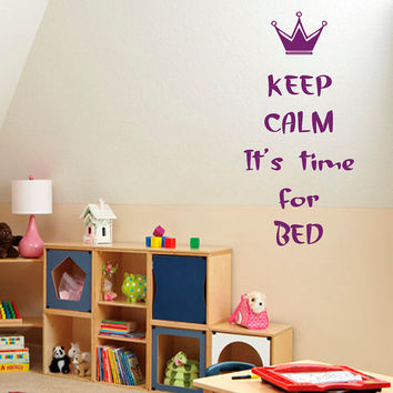 Wall Decals Quote Keep Calm It Is Time For Bed Vinyl Decal Sticker Art Mural Interior Design Baby Boy Girl Kids Nursery Room Decor KG603