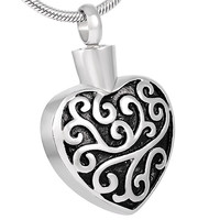 "Cremation ""Fleur Heart Design"" Pendant Urn Necklace"