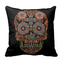 Day of the Dead Flower Sugar Skull Throw Pillow