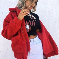 Relaxed Fleece Cardigan (Red)