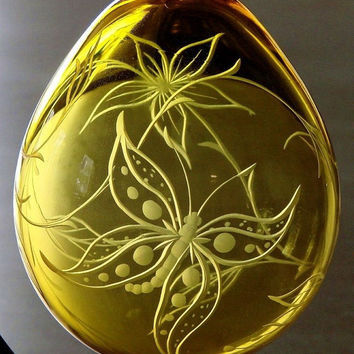 Hand Blown Hand Engraved Butterfly Ornament, One-of-a-Kind GIft, Home Decor, Wedding, Valentine's Day Gifts