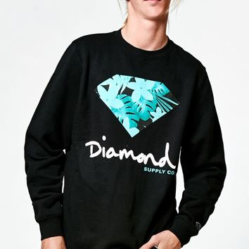 Diamond Supply Co OG Sign Tropical Infill Crew Neck Sweatshirt - Mens Hoodie - Black