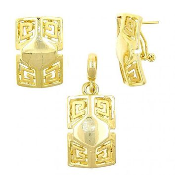 Gold Layered 10.59.0239 Earring and Pendant Adult Set, Greek Key Design, Polished Finish, Gold Tone