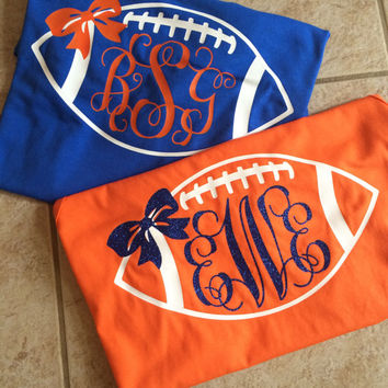Personalized/Custom Florida Gator Monogram College Football Shirt With Bow-Go Gators-Gator Bait-University of Florida-UF-Chomp