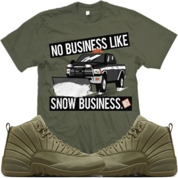 Jordan 12 Olive PSNY Match Sneaker Tees Shirts - SNOW BUSINESS