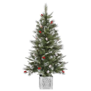 4' Frosted Pine Cone and Berry Potted Artificial Christmas Tree - Unlit
