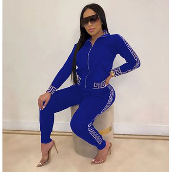 VERSACE New Popular Women Casual Round Collar Top Pants Set Two-Piece blue