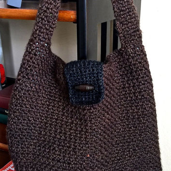 Crochet hobo bag in brown & black tweed, fully lined handbag, crochet boho handbag, hobo handbag, crochet slouch handbag, 2 tone bag, #H017