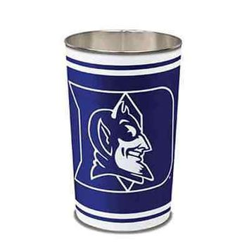 "DUKE BLUE DEVILS 15""X10.5"" TRASH CAN WASTEBASKET BRAND NEW WINCRAFT"