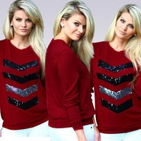 Women's Red and Sequined Long Sleeve Shirt