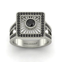 AMAZING 1.26CT BLACK ROUND 925 WHITE STERLING SILVER ENGAGEMENT RING FOR HER