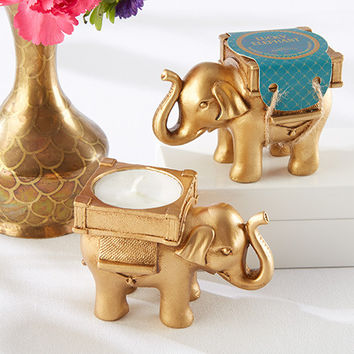 Elephant Golden Tealight Holder