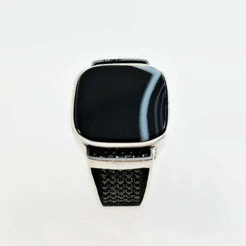 Men's Black Onyx Ring - Square Onyx Ring Size 10 - Black Onyx with White Lines - Men's Black Stone Ring