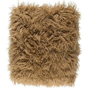 Camel Brown Faux Sheepskin Throw