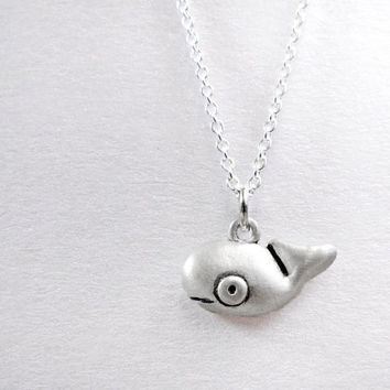 Very tiny whale necklace - silver nautical ocean sea life marine animal jewelry