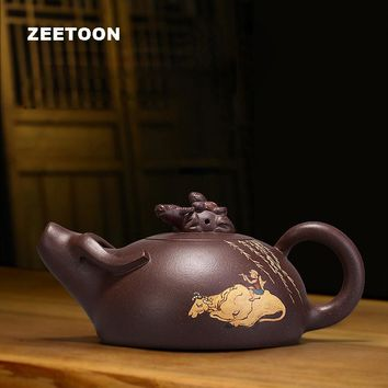 235cc Authentic Yixing Teapot Creative Vintage Shepherd Buffalo Shi Piao Pot Chinese Healthy Purple Clay Tea Set Stone Scoop Pot