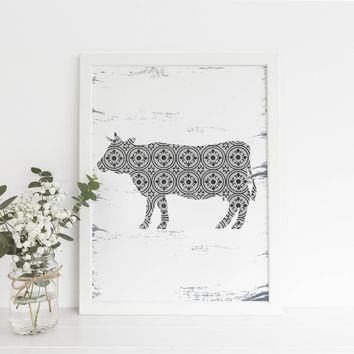 Modern Farmhouse Cow Art Print