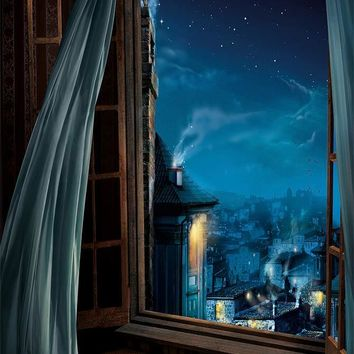 Open Window Peter Pan Magical London Printed Backdrop - 6372