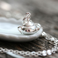 Silver Teapot Necklace, Tiny Teapot Pendant, Tea time Layered necklace, Teapot Charm, Silver jewelry, 5 o clock somewhere, Tea lover gift